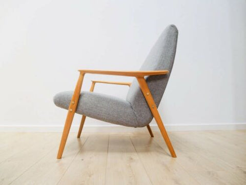 Stunning Mid Century Danish Dux Vintage Blonde Oak Lounge Chair Armchair /776