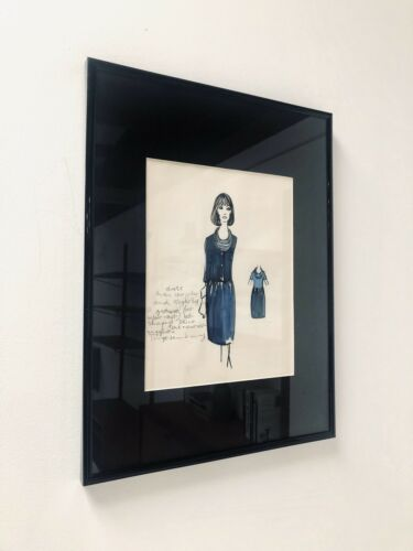 Mid Century Vintage Fashion Design Art Drawing 1950's 1960's Framed /1030
