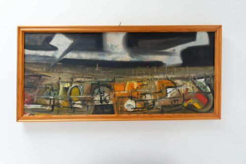 Original Mid Century Vintage Swedish Acrylic Abstract Painting 1960's /1000