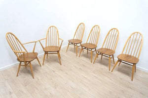 Stunning Set 6 Mid Century Vintage Ercol Quaker Windsor Dining Chairs /1073
