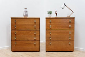 Pair Mid Century Vintage Teak Stag Tallboy Chest Of Drawers /117