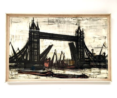 Original 1960's Framed Print By Bernard Buffet Of London Bridge