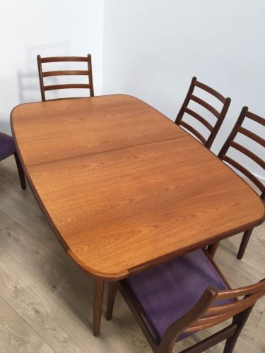 Mid Century Vintage Teak G Plan Extending Dining Table And 6 Dining Chairs