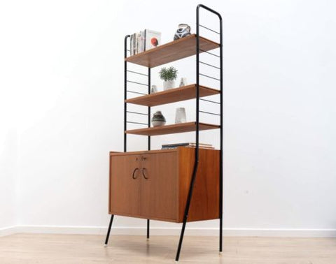 Stylish Mid Century Swedish Vintage Teak Metal Shelving Storage Unit /433