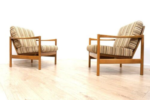 Pair Mid 20th Century Danish Vintage Teak Lounge Chairs Armchairs /660