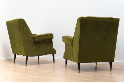 Stunning Pair Of Vintage Retro Parker Knoll Green Velvet Wing Back Armchairs