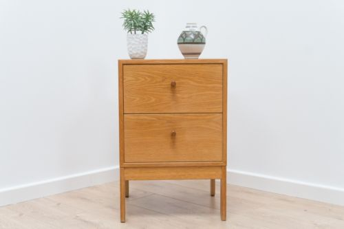 Immaculate Mid Century Vintage Swedish Blonde Oak Bedside Drawers
