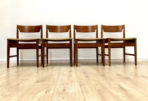 Mid Century Vintage Teak Set Of 4 Retro Danish Style Dining Chairs 1960's