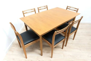 Midcentury Vintage Teak Dining Table & 6 Dining Chairs Morris Of Glasgow 1589