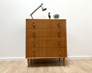 Mid Century Vintage Blonde Teak Chest Of 4 Drawers By Meredew 1960's