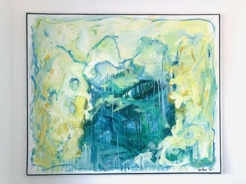Large Original Danish Mid Century Vintage Abstract Painting Canvas Signed /194
