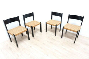 Set 4 Mid Century Vintage Danish Paper Cord Dining Chairs 1960's /988