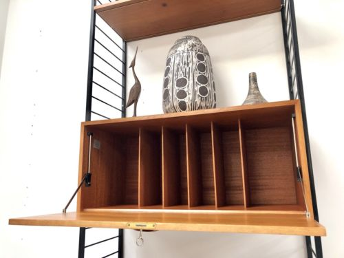 Mid Century Teak Staples Ladderax Teak Shelving Desk Vinyl Storage Wall Unit