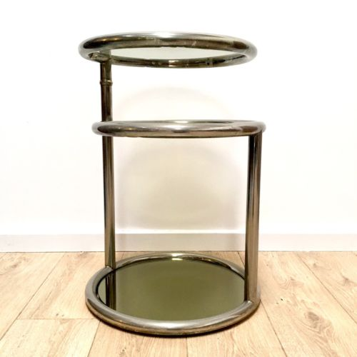 Mid Century Modernist Mirrored Glass And Chrome 3 Tier Drinks Table Side Table