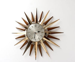 Large Mid Century Sunburst Metamec Teak Wall Clock 1960's /138