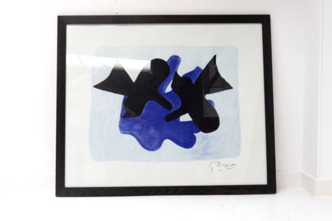 Huge 20th Century Abstract Framed Art Print Signed G Braque /121