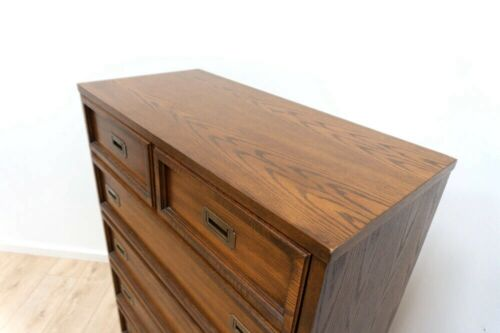 Mid Century Vintage Antique Canadian Kroehler Oak Campain Chest of Drawers /1006