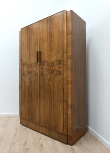 Antique Art Deco Burr Walnut Vintage Gents Wardrobe Armoire /1622