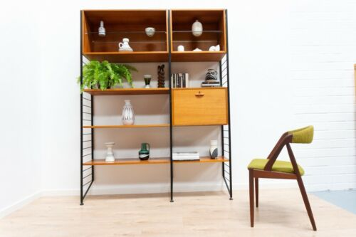 Mid Century Vintage Teak Ladderax Black Metal Shelving Desk Wall Unit /1199