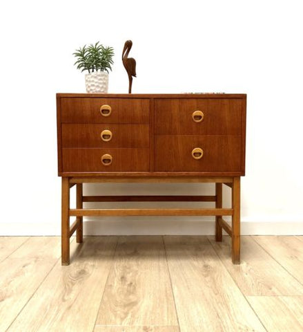 Mid Century Vintage Swedish Teak Chest Of Drawers Console 1960's