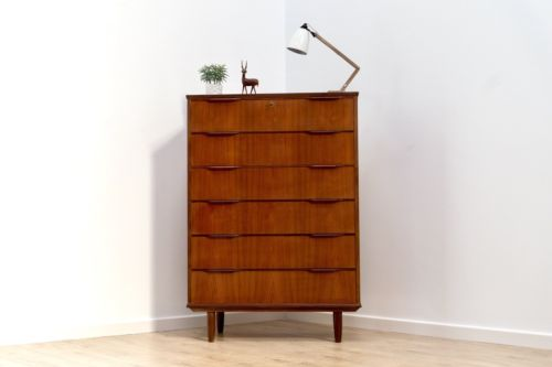 Rare Mid Century Vintage Danish Teak & Rosewood Tallboy Chest Of 6 Drawers