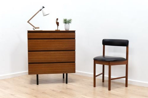 Superb Mid Century Vintage Teak Chest Of 4 Drawers Heals 1960's /142