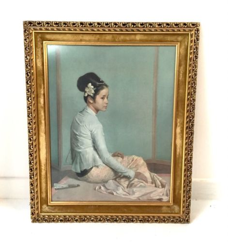 Original Retro Framed Signed Print Saw Ohn Nyun By Sir Gerald Kelly 1960's
