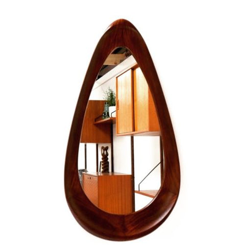 Superb Large Mid Century Modernist Vintage Rosewood Teardrop Shaped Mirror
