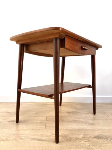 Mid Century Vintage Teak And Rosewood Danish Side Occasional Table