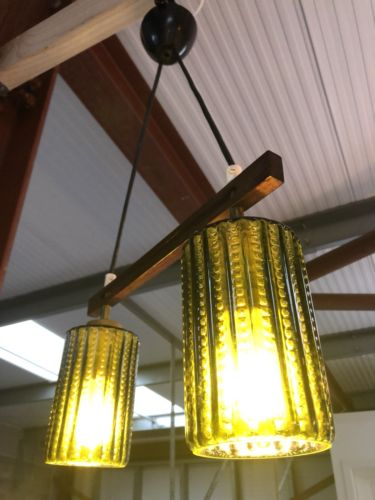 Mid Century Danish Vintage Teak Glass Pendant Ceiling Light 1960's