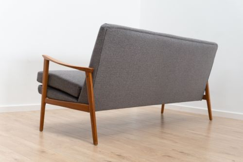 Stunning Mid Century Danish Vintage Sofa Settee and Lounge Chair Reupholstered