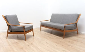 Stunning Mid Century Vintage Scandart Sofa Settee and Lounge Chair Reupholstered