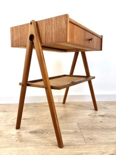 Mid Century Vintage Teak And Walnut Bedside Cabinet Night Stand