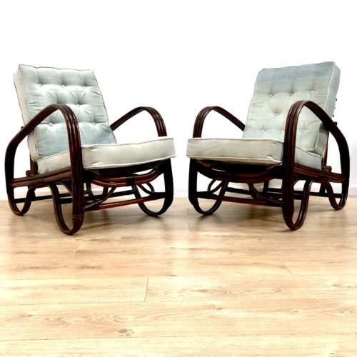 Rare Pair Mid Century Vintage Angraves Invincible Cane Wicker Arm Chairs