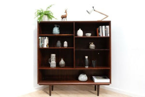 Stylish Mid Century Danish Vintage Rosewood Large Bookcase Shelving Unit /1394