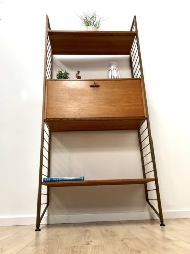 Mid Century Teak Ladderax Teak Shelving Desk Bureau Unit For Staples Heals