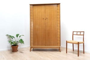 Superb Mid Century Vintage Alfred Cox Walnut Double Wardrobe /376