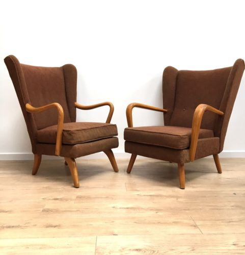Pair of Mid Century Vintage Howard Keith Mamma And Papa Armchairs and Footstool