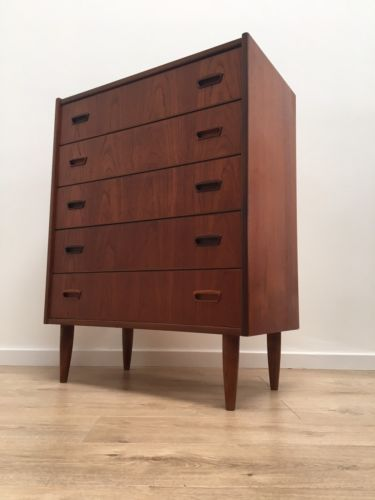Stunning Mid Century Vintage Danish Teak Tallboy Set Of 6 Drawers 1960's