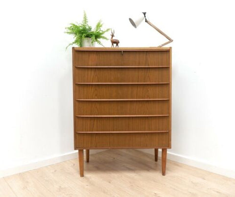 Mid Century Danish Vintage Teak Tallboy Chest Of Drawers 1950's /1354