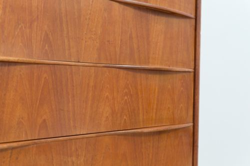 Rare Mid Century Vintage Danish Teak Tallboy Chest Of 6 Drawers 1950's