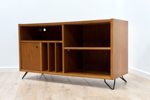 Mid Century Vintage Teak Vinyl Record TV Media Storage Unit G Plan Era