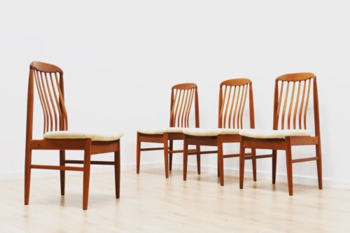 Mid Century Danish Vintage Teak Dining Table & Set 4 Benny Linden Dining Chair