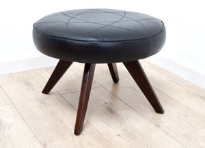 Stunning Mid Century Danish Vintage Black Leather Rosewood Footstool 1960s /210
