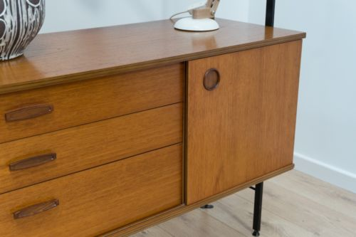 Spectacular Mid Century Teak And Metal Shelving Wall Unit By Avalon 1960's