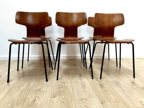 Set Of 6 Original Arne Jacobsen For Fritz Hansen Teak Hammer Chairs 3103