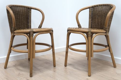 Pair Mid Century Vintage Cane Wicker Rattan Chairs