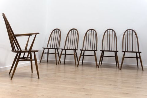 Superb Set Of 6 Vintage Ercol Windsor Quaker Dining Chairs With Carver