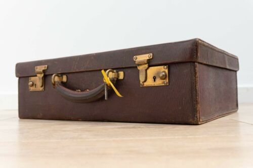 Vintage Antique Leather Finnigans Luggage Brief Case Trunk /673