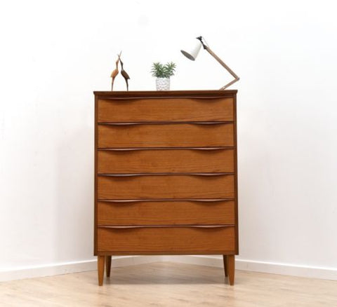 Superb Mid Century Vintage Danish Teak True Tallboy Chest Drawers 1950's